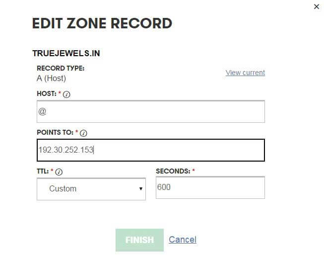 Adding A record to DNS Zone Records - github screenshot
