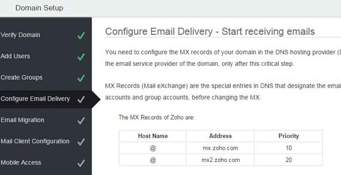 free email hosting for domain setup ZOHO godaddy